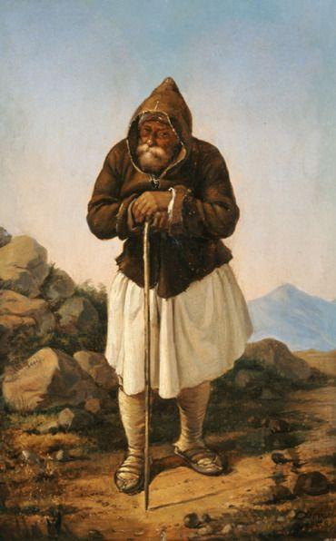 Τσόκος Διονύσιος (1820 - 1862) Γέρος τσοπάνος, 1858 Λάδι σε ξύλο , 42 x 26 εκ. Συλλογή Ιδρύματος Ε. Κουτλίδη