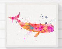Wal-Kunstdruck, Rosa Wal, Baby Mädchen Kinderzimmer, Aquarell Wal, Wal-Malerei, nautische Wall Decor, Küsten-Wandkunst, Mädchen Raum Dekor