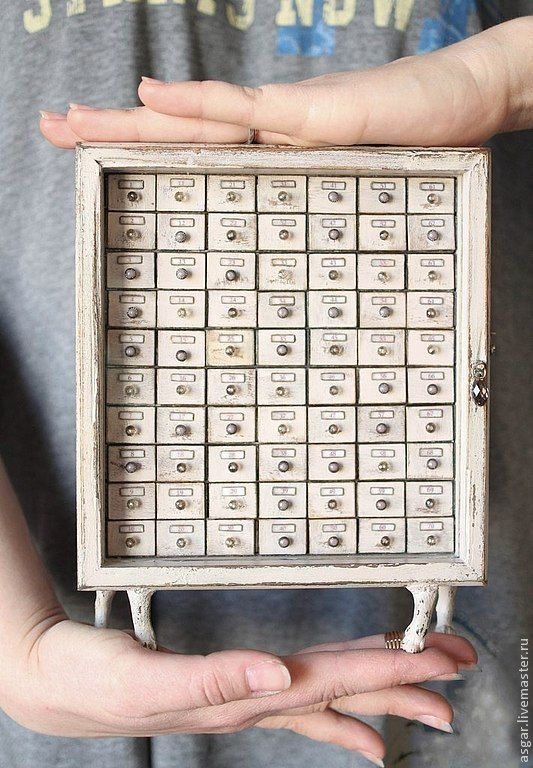 Купить Альфред. Миниатюрный картотечный шкаф. - бежевый, белый, светло-бежевый, светло-серый, комод