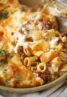 Ina Garten's Pastitsio  1) Mix meat sauce and pasta 2) Don't layer the pasta mix too thick 3) Bake 45-55 min