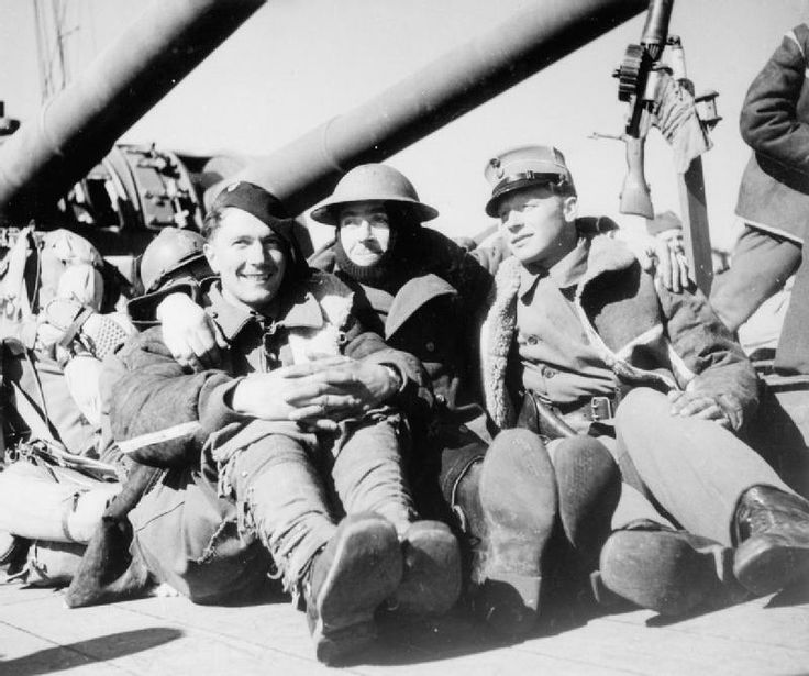 French, British and Norwegian soldiers aboard a Royal Navy warship, 8 May 1940.