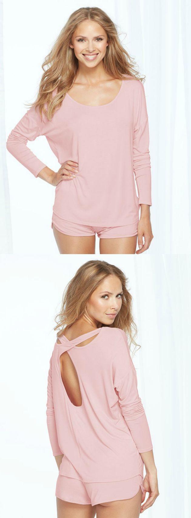 We love this soft peachskin pink long sleeve and short sleep set!