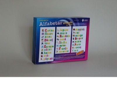 Alfabetar introductiv cu imagini ajutatoare contine 110 caractere si 50 imagini ajutatoare – se adreseaza in special copiilor prescolari, dar si celor din clasa I, pentru a se obisnui cu literele, caracterele si semnele din alfabetul romanesc. Varsta recomandata: peste 5 ani http://jucarii-vorbarete.ro/produs/alfabetar-introductiv-cu-imagini-ajutatoare/