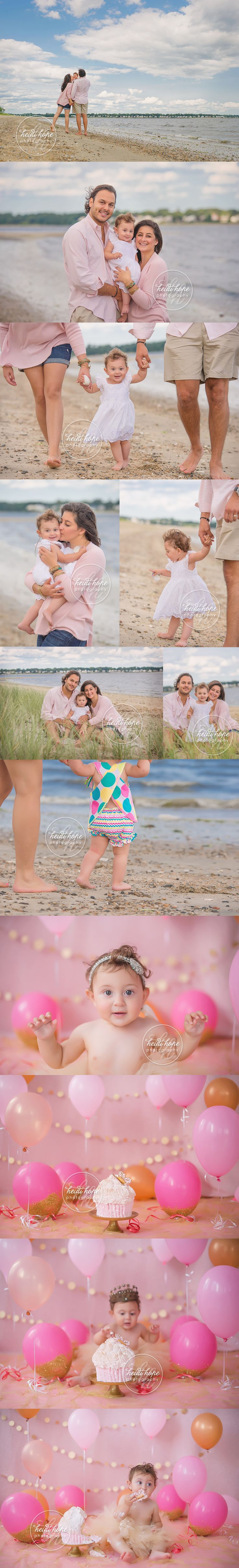 pink and gold first birthday cakesmash and outdoor family beach portraits