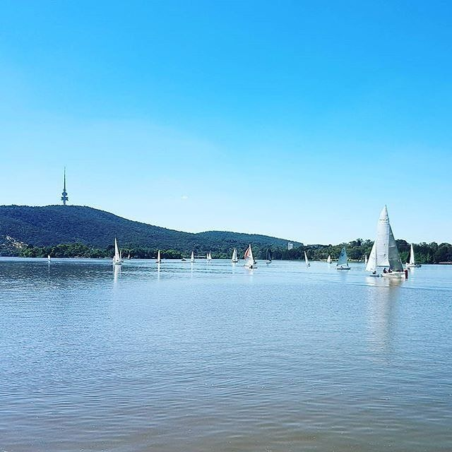 "Instagrammer @point_assist is a fan of the ""great weather in Canberra at the moment"" and it's not hard to see why. On your next visit, you could make the most of the summer conditions and try sailing on Lake Burley Griffin. The Canberra Yacht Club Boat Hire has Canberra's largest range of sailing vessels for public hire, from trailer sailers, to family dinghies. #visitcanberra #onegoodthingafteranother"