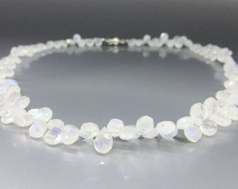 Check out Moonstone necklace with Sterling silver - beautiful blue shining drops - gift idea Holiday season on gemorydesign