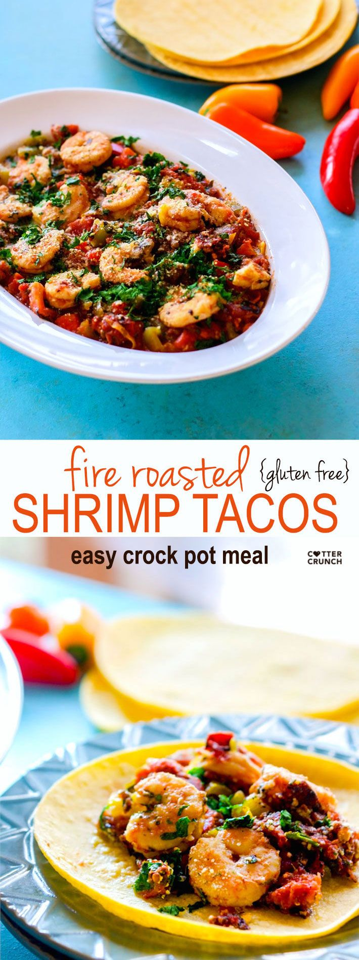 Gluten Free Crock Pot Fire Roasted Shrimp Tacos! We love making crock pot tacos. This recipe requires little prep, but produces tons of flavor and nutrients! Great for busy days and easy dinners! #cottercrunch.com @sizzlefishfit