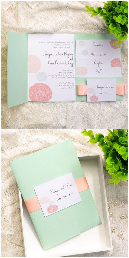 Mint Green And Peach Wedding Colors Inspired Pocket Wedding Invitations  2015 Trends #weddinginvitations