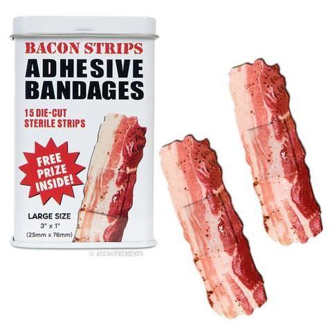 Slap some bacon on it! #Funny #GiftIdeas #Canada  http://giftideascanada.com/bacon-strip-bandages/