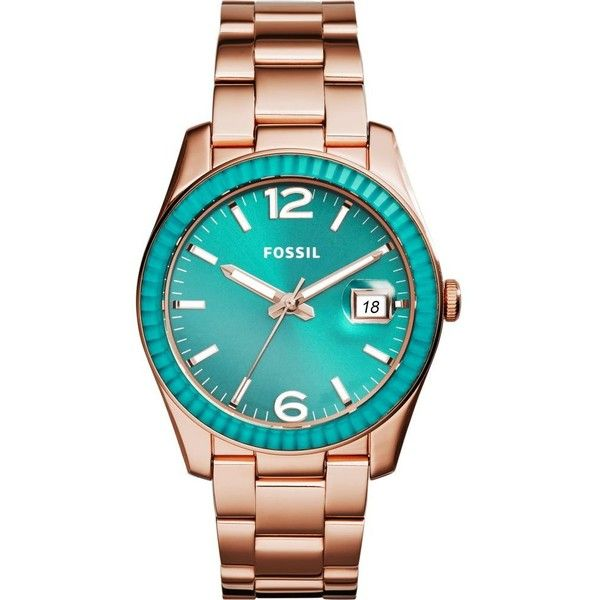 FOSSIL ES3730 Ladies stainless steel boyfriend watch ($230) ❤ liked on Polyvore featuring jewelry, watches, green, green dial watches, stainless steel jewelry, water resistant watches, fossil jewelry and fossil bracelet
