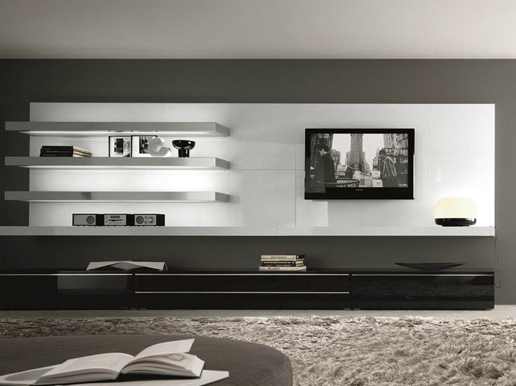 Sectional wall-mounted lacquered wooden storage wall TAO DAY MisuraEmme Collection by MisuraEmme | design Mauro Lipparini