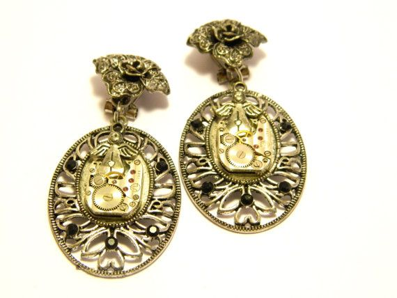 Steampunk clip earrings Angels silver colored by EmilySteampunk