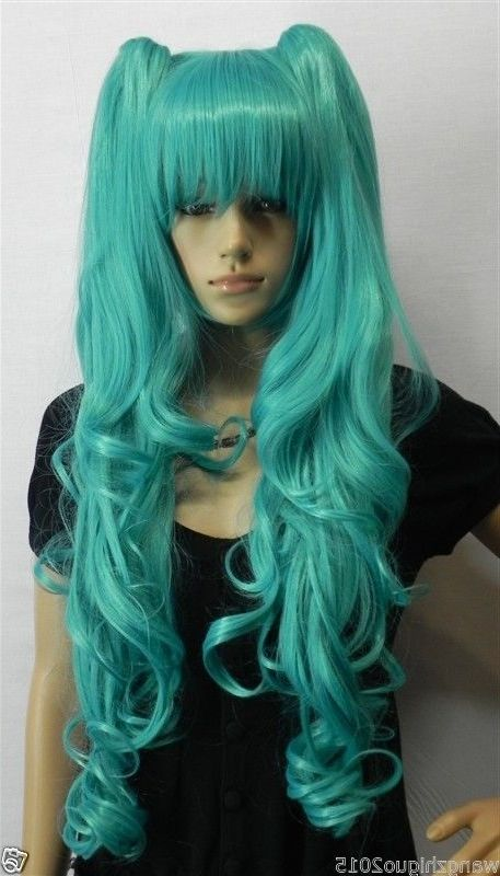 32.62$  Watch now - http://ali3q4.worldwells.pw/go.php?t=32518889828 - Womens wigs Long Wavy wig cosplay Animation Green wig+2 Ponytails+wigs cap 32.62$