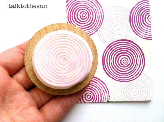 Spiral-Kreise-Briefmarke. geometrischen Kreis Hand geschnitzte