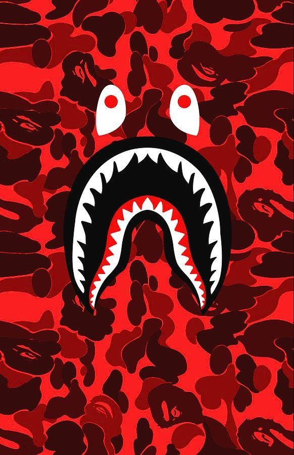 Bape Shark Teeth Camo Red Wallpaper Bape Wallpapers Bape Shark Wallpaper Iphone Wallpaper Hipster Beautiful red bape wallpaper for iphone
