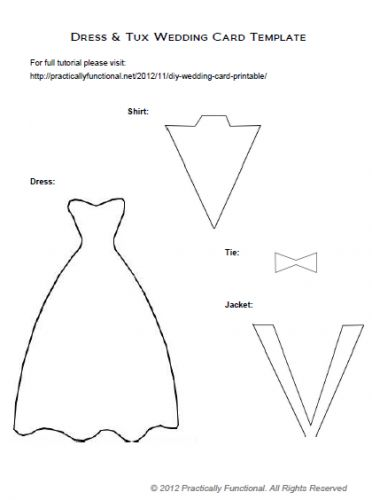 DIY Wedding Card: Dress  Tux Trifold {+ Printable} - Practically Functional - Simple, elegant and #homemade - great idea! Don't forget to use Ultra-Thin Glue Dots to keep it all together without bumps, wrinkles or dry time!