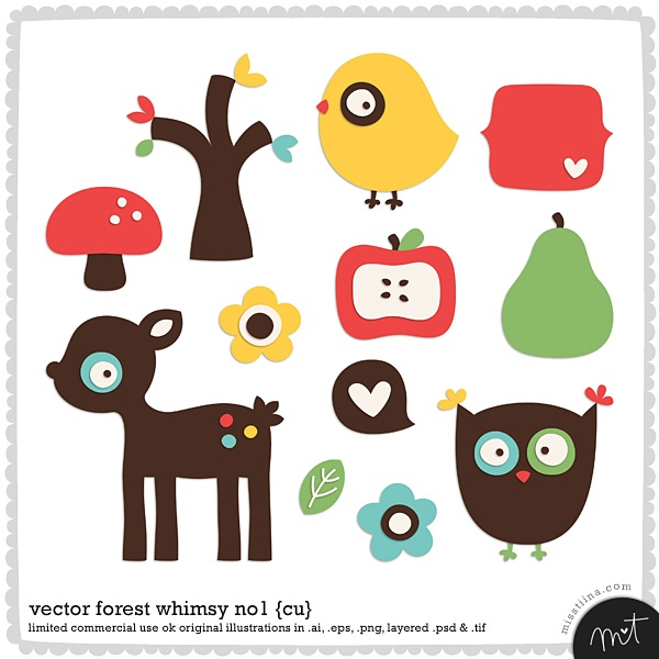 forest whimsy no. 1: deer, owl, bird, toadstool, flowers, tree, fruit