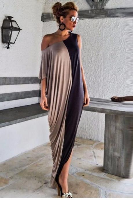 Free Shipping Trend Asymmetrical Loose Fitting Maxi Dress For Plus Size Women