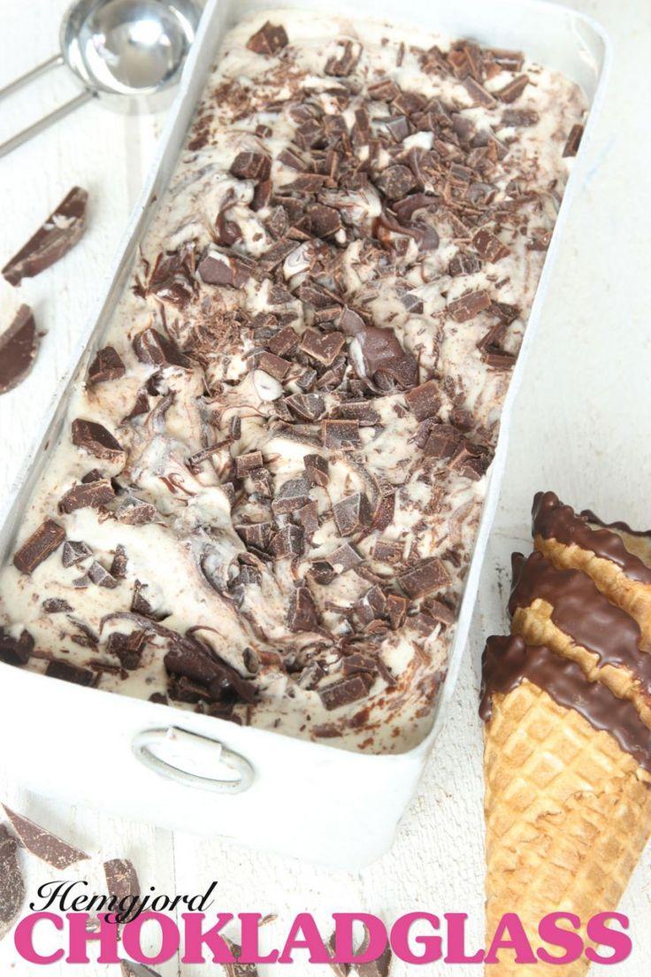 Lättgjord krämig chokladglass