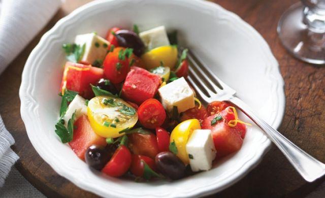 Salade de tomates cerises et melon d'eau à l'érable