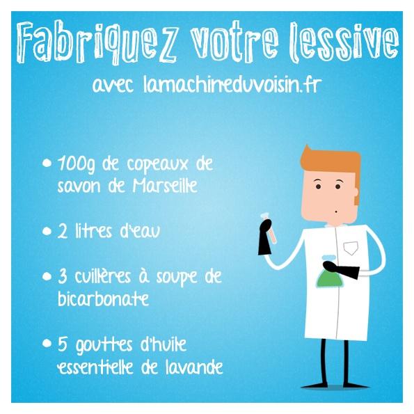 Faites fondre les copeaux de savon de Marseille avec le bicarbonate, mélangez et laissez reposer une heure. Mettez la préparation dans un bidon et ajoutez un litre d'eau tiède et l'huile essentielle. Secouez le tout.   Pour le linge de couleurs : remplacez le bicarbonate par des cristaux de soude.
