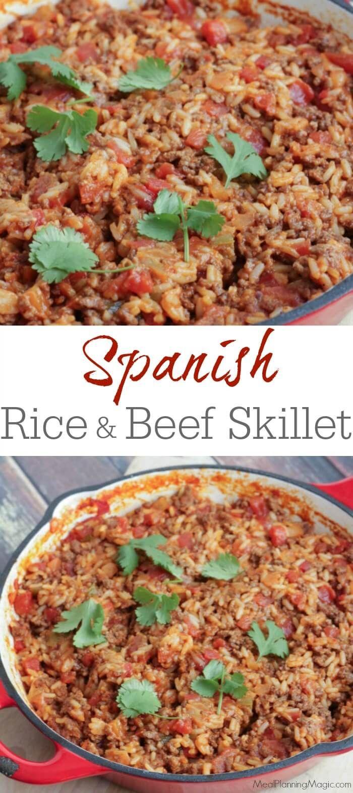 Spanish Rice and Beef Skillet Dinner #SundaySupper