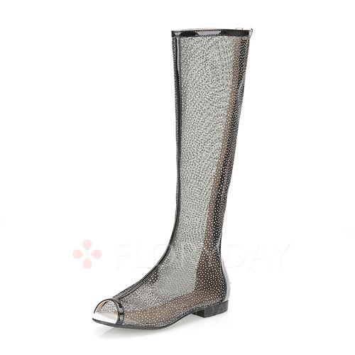 Zapatos - $90.11 - Zapatos Botas Encaje Botas longitud media Tacón bajo Cuero Tela (1625117959)