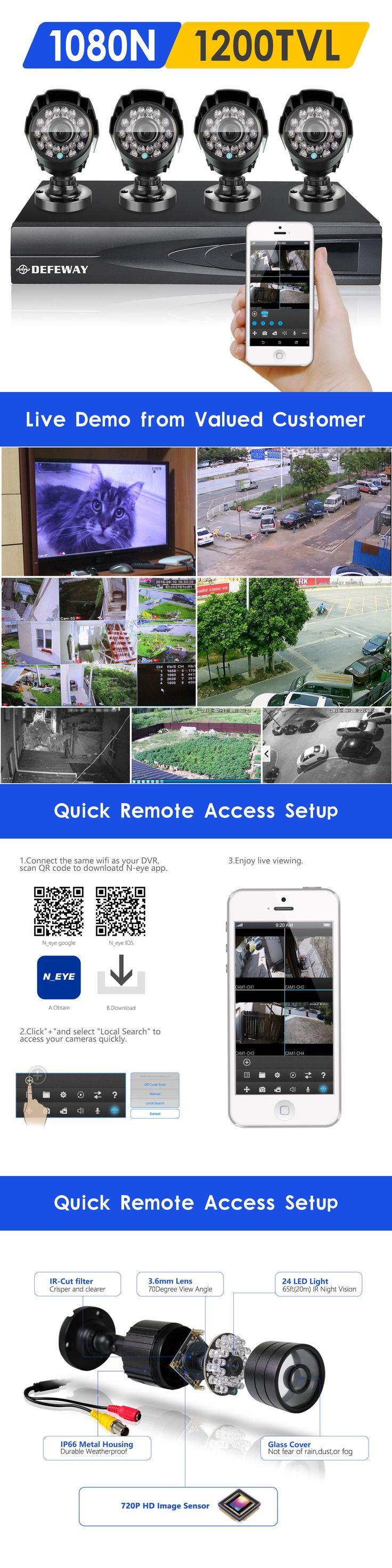 Surveillance security systems defeway 1500tvl ir outdoor home surveillance security camera 1080n hd dvr system