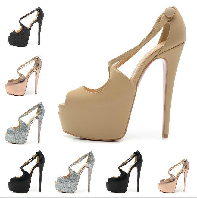 Размер : 35-41 женская 16 см высокие каблуки черные замшевые высокие толстые каблуки красные нижние туфли на высоком каблуке, дамы роскошные мода 6 см платформы сексуальная обувь