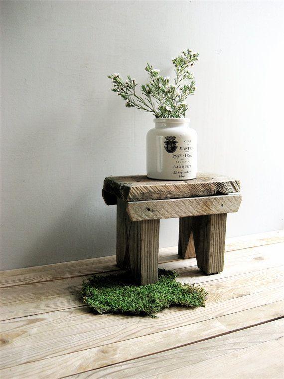 Vintage Primitive Wooden Stool by lovintagefinds on Etsy