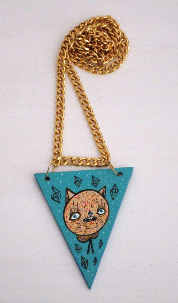 Dreamy cat necklace hand painted  Collana gatto di ValentinaZummo