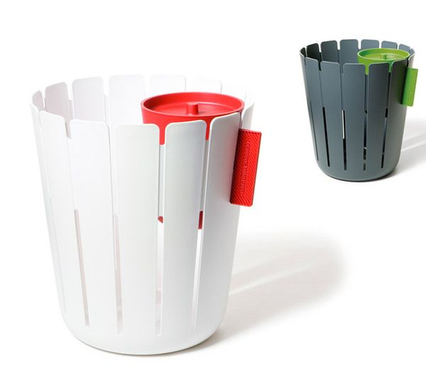 BASKETBIN: The big BASKET collects sorted office paper, the removable small BIN hides other litter behind its lid.