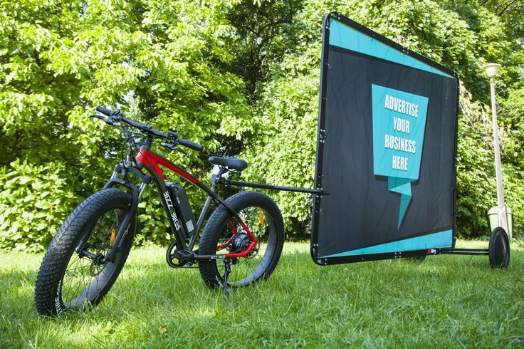 Ad Bicycle Kit // Fat Tire Electric Bike with AdBicy mobile billboard by BizzOnWheels