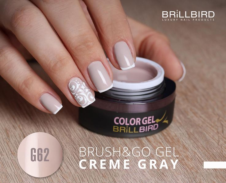Brush&Go Color Gel Creme grey - gel color pentru unghii false.   www.brillbird.ro