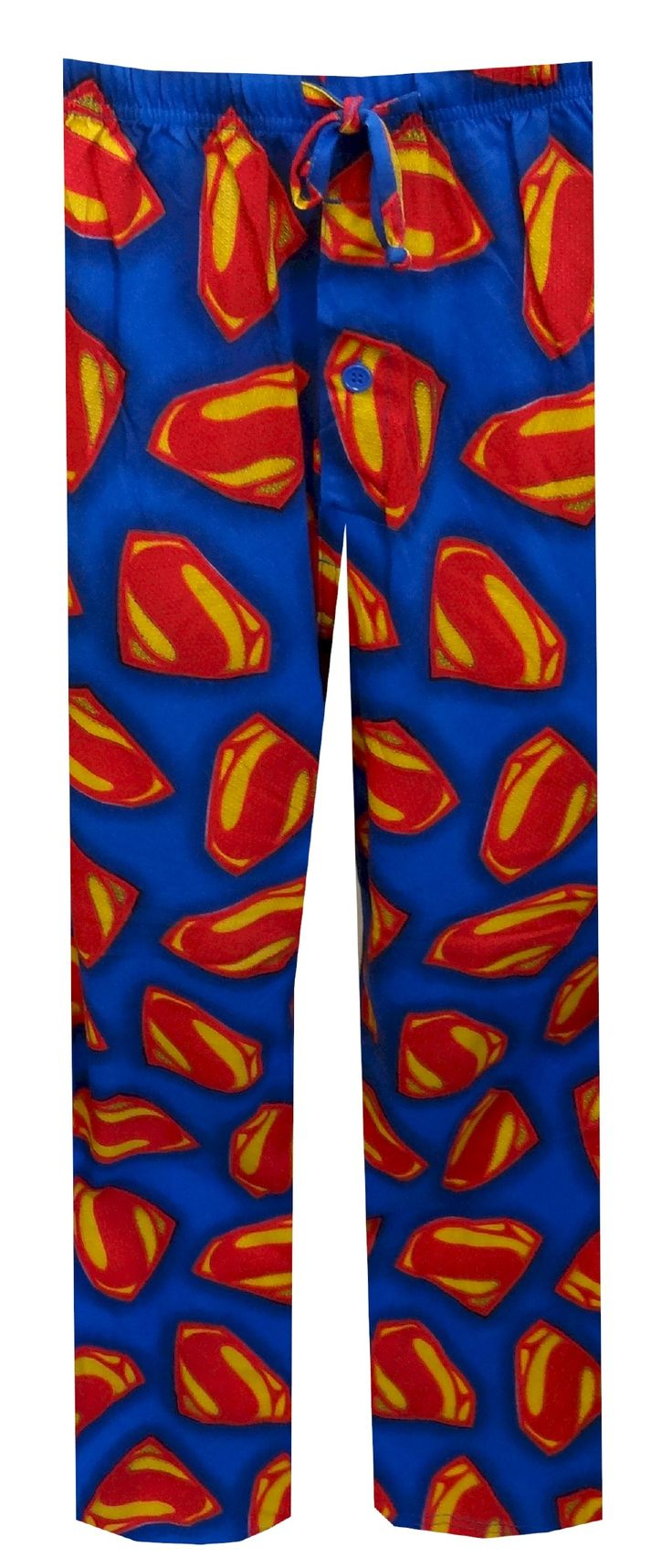 DC Comics Superman Man Of Steel Lounge Pant Perfect for new and old Superman fans alike! These lounge pants feature the new version of Superman's 'S' Shield from the latest hit movie. Pants have a drawstring and elastic waist with an open fly. They are 100% super soft cotton and are great for watching old Superman movies on the couch!