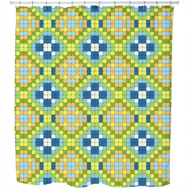 Liven up your bathroom space with this exciting and charming shower curtain featuring a fun trends pattern in a multicolored design. Your shower will start singing to you thanking you for such a glori