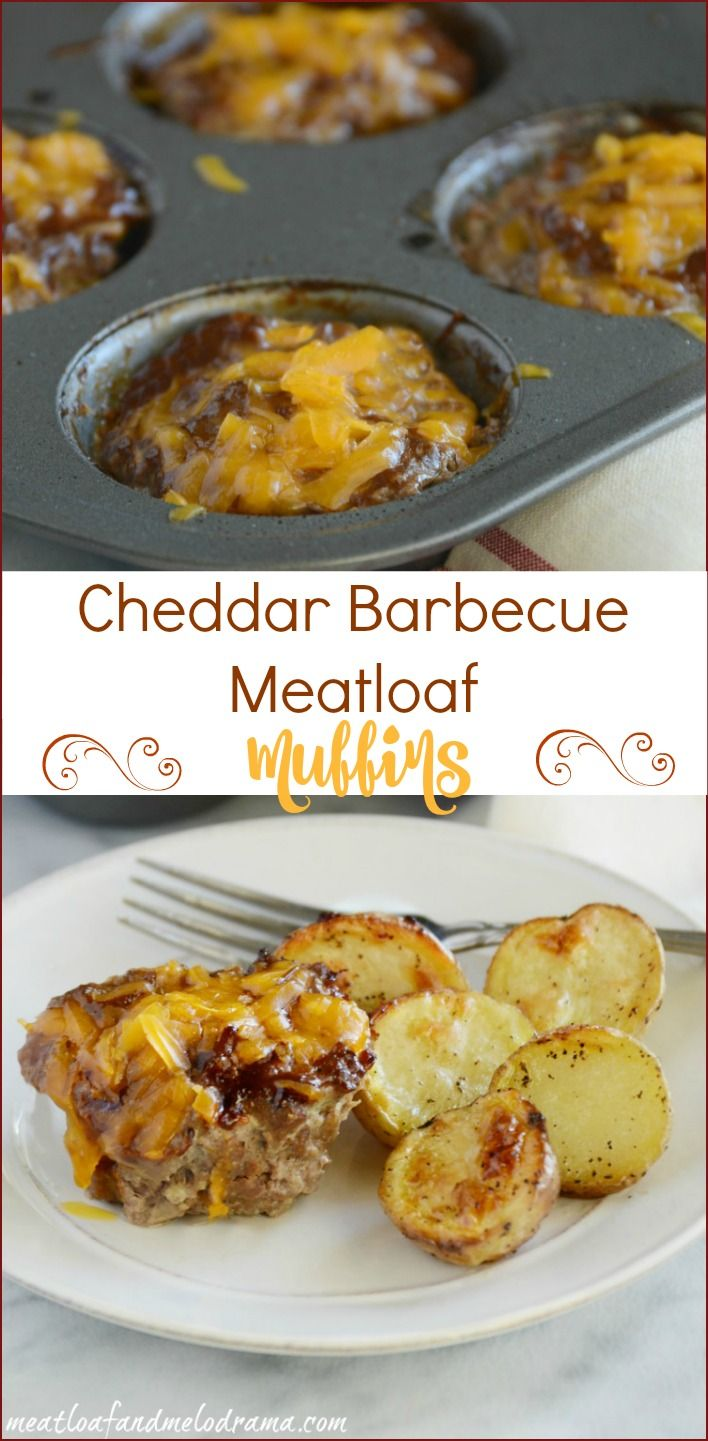 Easy recipe for cheddar barbecue meatloaf muffins. These individual mini meatloaves are made in a muffin tin for a quick and easy meal. Also, no bread crumbs, so they're basically gluten free!