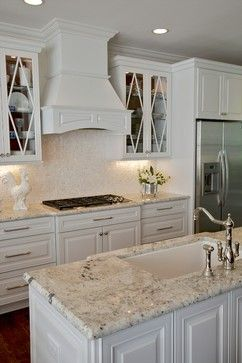 What A Great Kitchen. Love That Granite And Backsplash Against White  Cabinetry