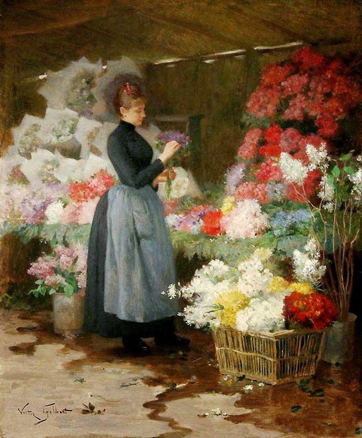 botón abejorros: Pinturas de 1880 de la flor de Mercados Paris por Victor Gabriel Gilbert