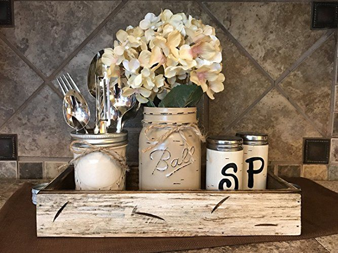 Ball Mason Jar Kitchen Table Centerpiece Set Antique White Tray Salt And Pepper Shakers Kitchen Table Centerpiece Kitchen Centerpiece Dining Table Centerpiece