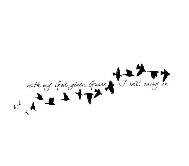 Tattoo idea but with less birds and different wording.  I want Let the wind carry you home.