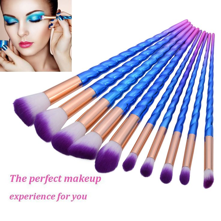 Lospu HY 10Pcs Professional Makeup Brushes Set Foundation Unicorn Blending Cosmetic Eyeshadow Brush Blush Brush Kits (Blue). Hair Material:Nylon Hair. Handle material:Plating,Plastic.100% brand new and high quality. Unique unicorn design brush pole shape , to ensure comfortable feel and easy to use. Compatible with any type of foundation, cream, powder and blush. Effortlessly buff and blend your make-up onto the skin. For controlled eye shadow application and also can be used to blend eye...