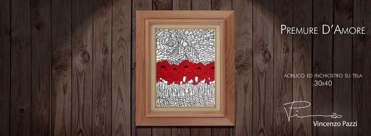 Premure d'Amore (Love's Attentions) - acrilico ed inchiostro su tela (acrylic and ink on canvas) - 30x40 cm - by Vincenzo Pazzi - http://vincenzopazzi.com/2014/12/11/premure-damore-loves-attentions/ - #art #acrylic #ink #canvas