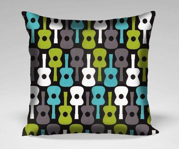 Groovy Guitar Pillow Case Cover  16x16 18x18 20x20 by SunnuBunnu