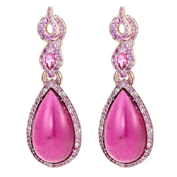 John Hardy Diamond rubelite sapphire 18k rose gold pear drop earrings (167.350 RON) ❤ liked on Polyvore featuring jewelry, earrings, pink, pink earrings, sapphire diamond earrings, sapphire drop earrings, rose gold diamond earrings and pink diamond earrings