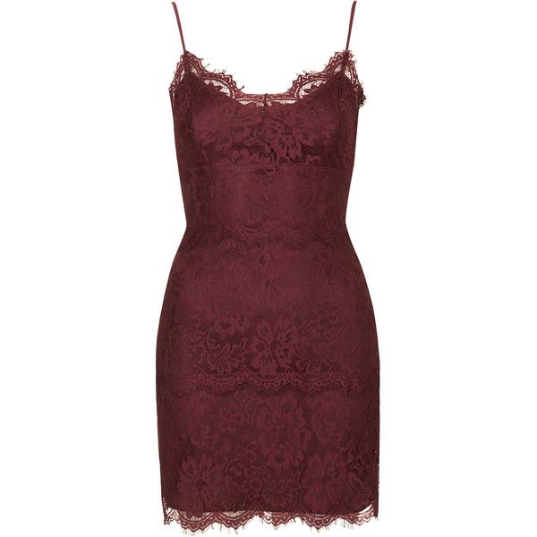 TOPSHOP Lace Bodycon Tunic (€26) ❤ liked on Polyvore featuring dresses, vestidos, topshop, short dresses and berry red
