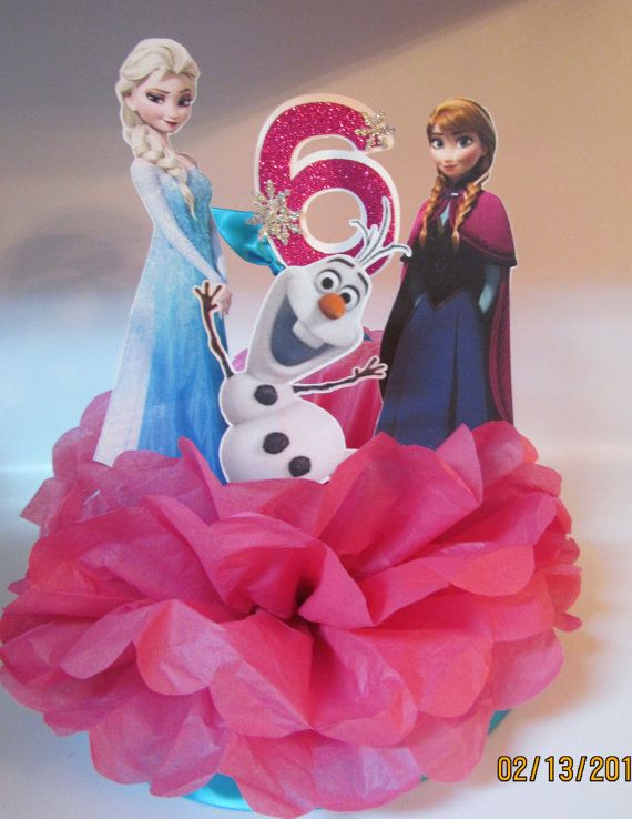 Princess Anna Elsa Olaf  Frozen Birthday Party Centerpiece  by KhloesKustomKreation, $25.00