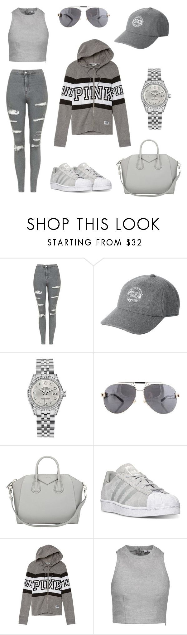 """""""Grey series"""" by megs78 ❤ liked on Polyvore featuring Topshop, Victoria's Secret, Rolex, Versace, Givenchy, adidas and T By Alexander Wang"""
