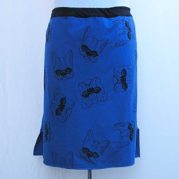 Blue bulldog skirt, pencil skirt, Plus size Skirt, blue skirt, French bulldog skirt, 1x 2x 3x 4x skirt dog skirt straight skirt jersey skirt by Rethreading on Etsy