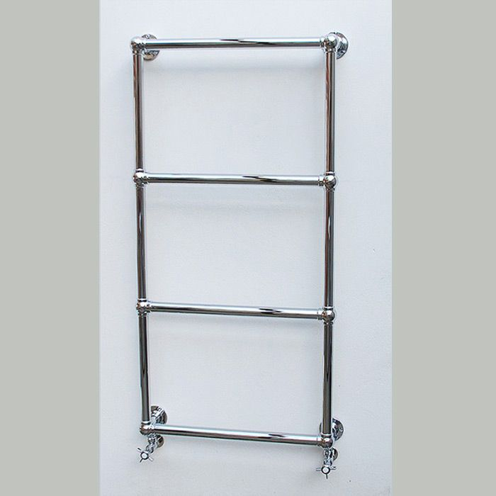 The Chantry heated towel rail. The Chantry traditional wall mounted towel warmer is handmade to order within our factory based on the south coast of England.  It is manufactured from DZR brass and ball jointed throughout.  Depending on the size you require, the Chantry comes with either 3,4,5 or 6 horizontal bars. All heights up to 840mm have 3 bars